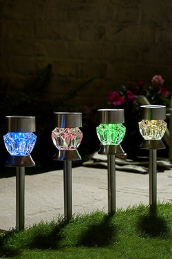 Pack Of 4 Colour Changing 2-in-1 Glass Solar Lights