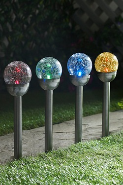 Pack Of 4 Multicolour Changing Crackle Glass Solar Lights