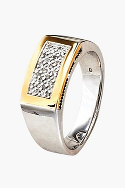 Gents Silver and 9ct Gold Diamond Set Signet Ring