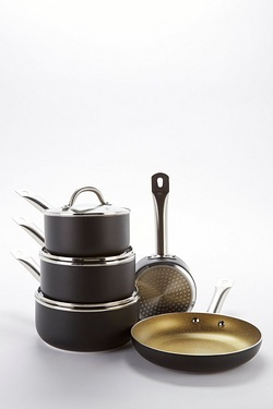 5-Piece Black and Gold Pan Set