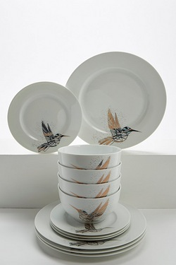 12-Piece Rose Gold Kingfisher Dinner Set