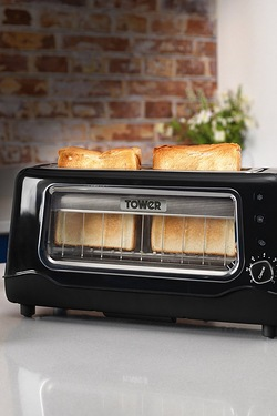 Tower 2-Slice Long Slot Glass Toaster