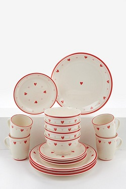 16-Piece Ceramic Hand Painted Hearts Dinner Set