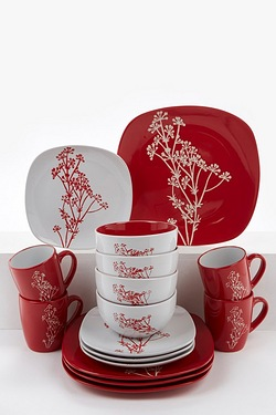 16-Piece Red and White 2 Tone Dinner Set