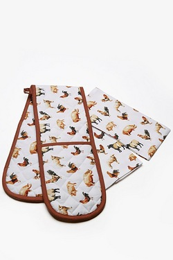 3-Piece Farmyard Oven Glove and Tea Towel Set