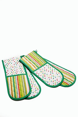 Double Oven Gloves - Multi Polka