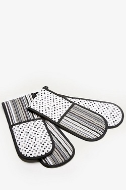 Double Oven Gloves - Black Polka