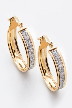 9ct Yellow Gold Stardust Creole Earrings