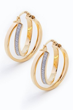 9ct Yellow Gold Stardust Double Creole Earrings