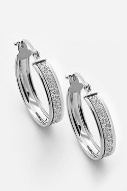 9ct White Gold Stardust Creole Earrings