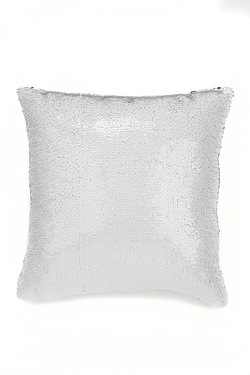 Silver and White Sequin Cushion