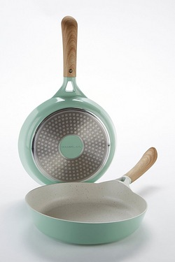 Set Of 2 Green Frying Pans
