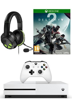 Xbox One S White 1TB Console + Destiny 2 + Turtle Beach XO Three Headset