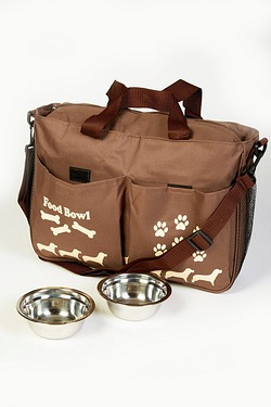 Pet Travel Bag and Dishes