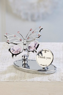Crystocraft Butterfly Plaque - Thank You