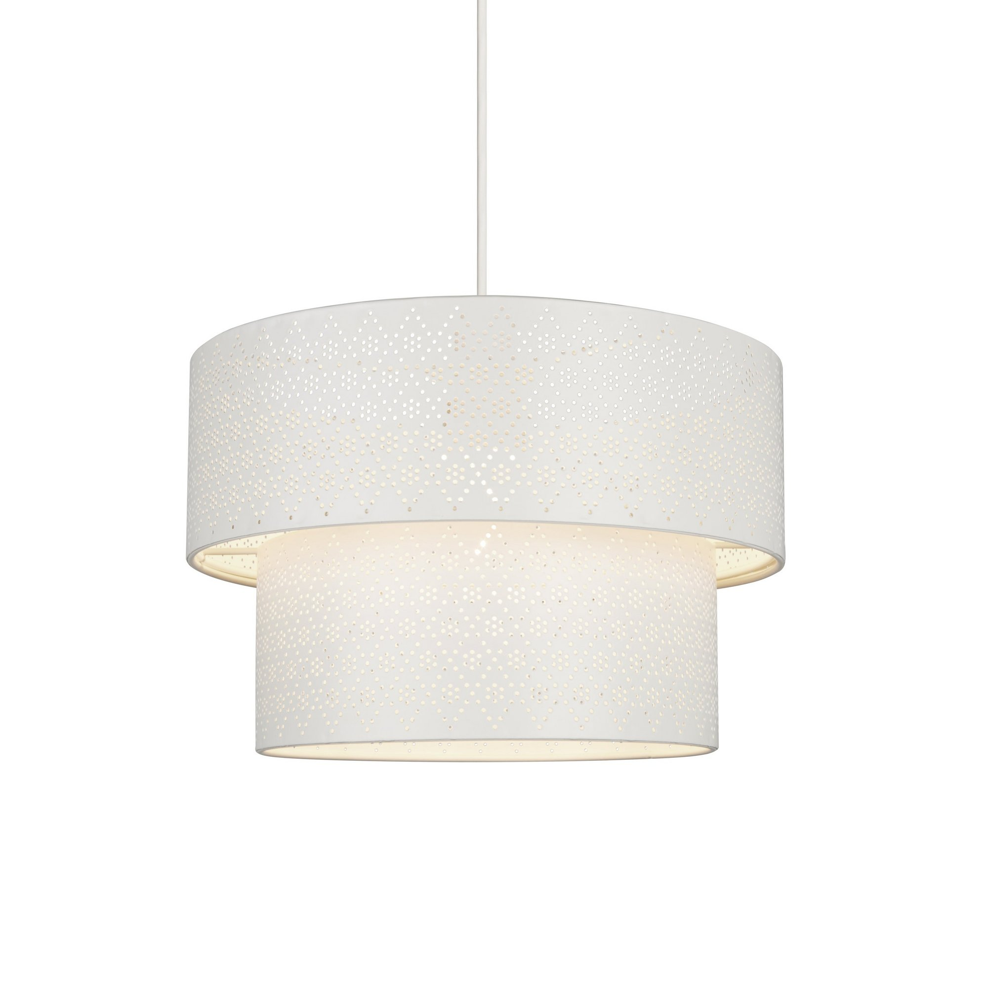 Image of Cream 2 Tier Easy Fit Fretwork Drum Light Shade