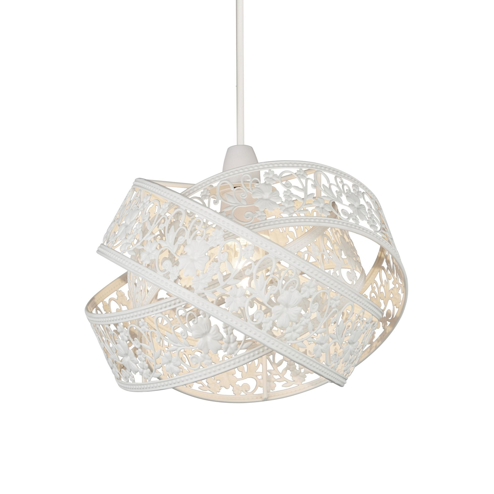 Image of 2 Layer White Fretwork Easy Fit Light Shade