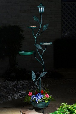 Solar Light Bird Feeder and Plant Stand