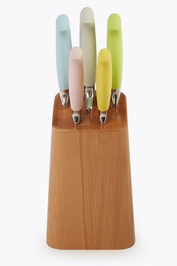 5-Piece Coloured Knife Set and Wooden Block