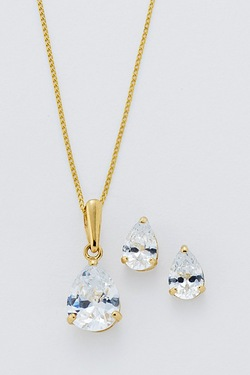 9ct Solitaire Pear Stud and Pendant Set
