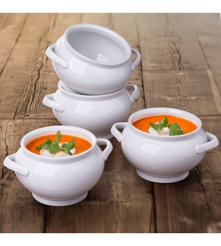 Set Of 4 White 2 Handled Soup Bowls Studio