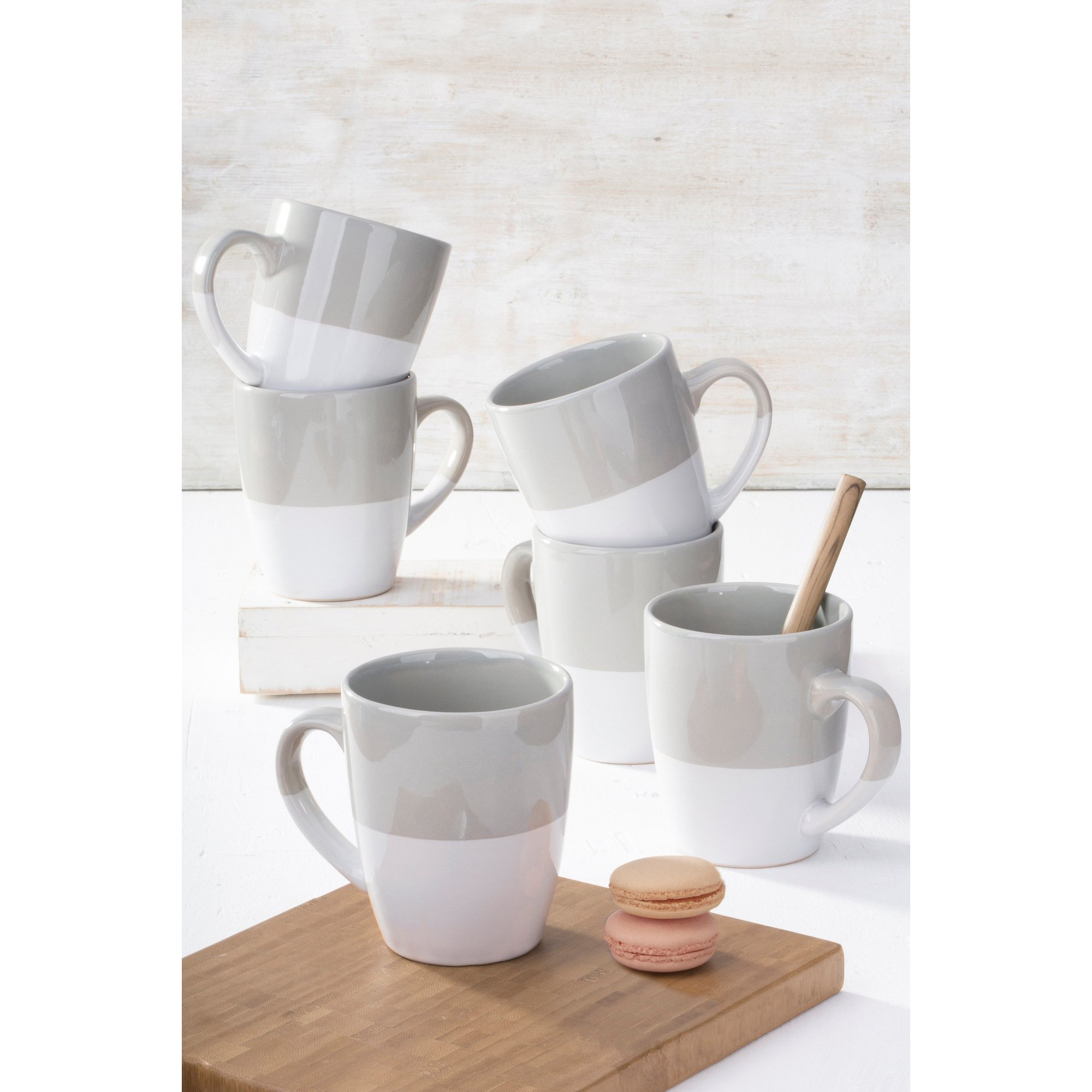 Image of 6-Piece Grey Dipped Glaze Mug Set