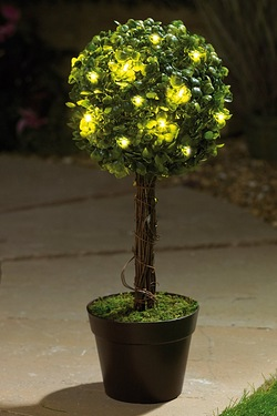 Light-Up Potted Bay Ball Tree