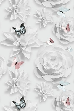 Origami Florals Wallpaper