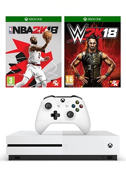 Xbox One S White 1TB Console + NBA 2K18 + WWE 2K18