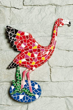 Mosaic Flamingo Wall Plaque