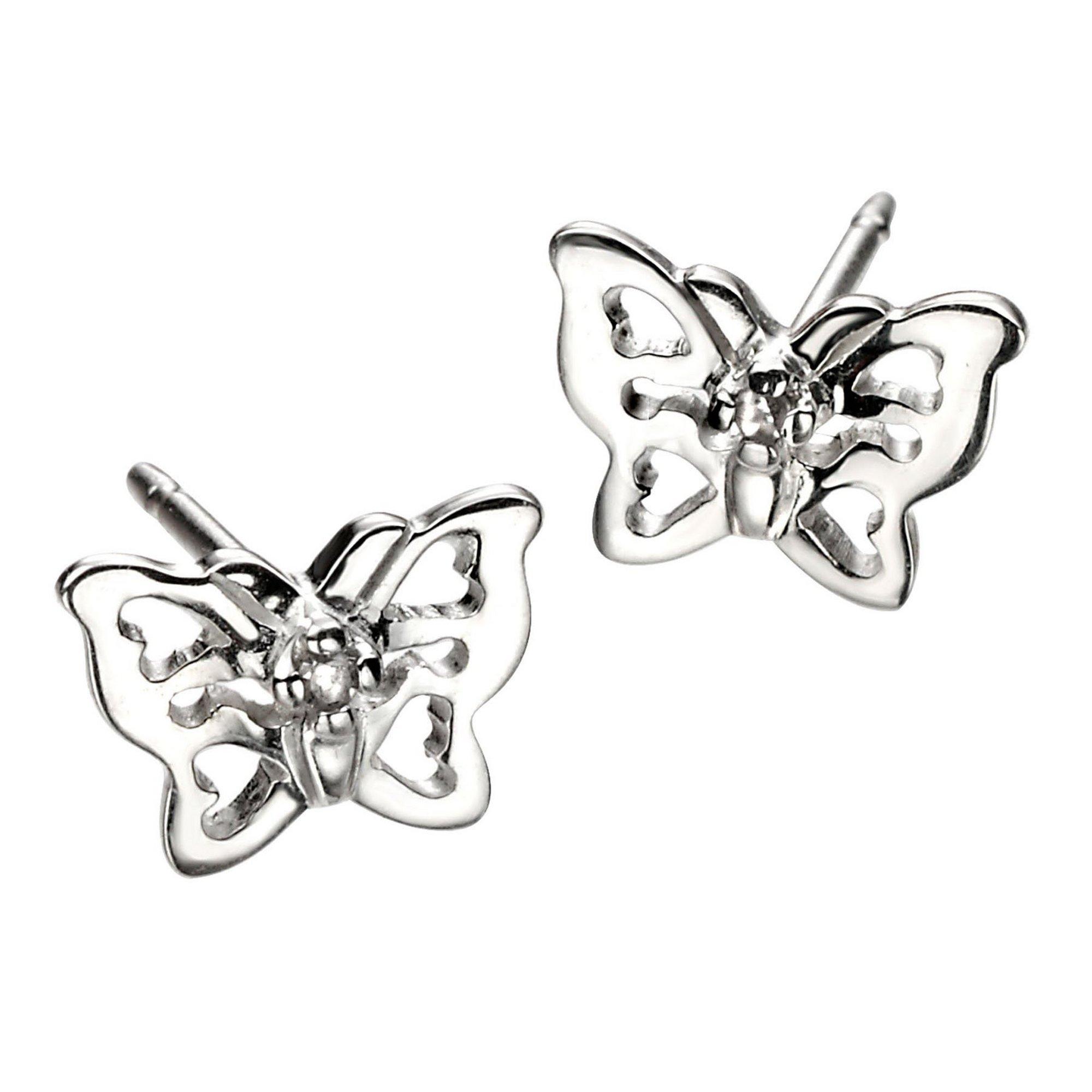 Image of D For Diamond Filigree Butterfly Earrings