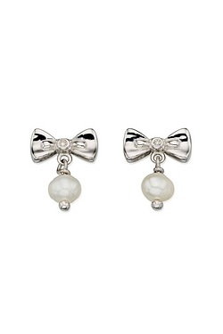 D For Diamond Bow and Pearl Drop Earring