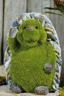 Stone-Effect Flocked Hedgehog Garden Ornament