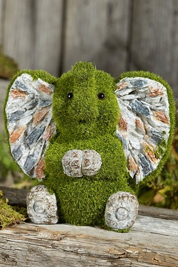 Stone-Effect Flocked Elephant Garden Ornament