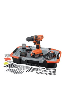 Black and Decker 18V Drill With Case and 165 Accessories
