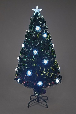 Fibre Optic Silver Pom Pom Tree