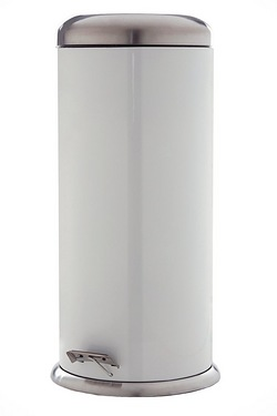 30L White Stainless Steel Bin