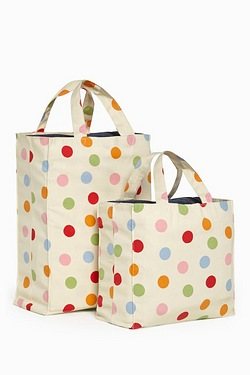 Set Of 2 Spots Canvas Bags