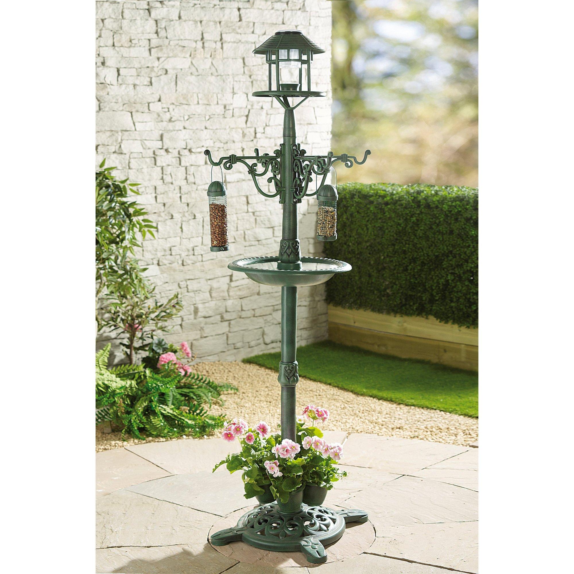 Image of Solar Planter Bird Feeder Lamp Post