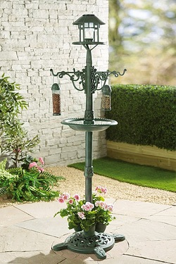 Bird Feeder and Planter Lamp Post With Solar Light