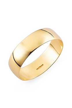 Yellow Gold Plain Wedding Band - His