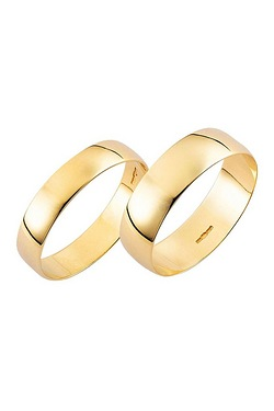 Yellow Gold Plain Wedding Band - His and Hers Set