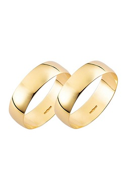 Yellow Gold Plain Wedding Band - His and His Set