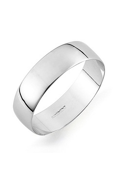 9ct Gents White Gold Plain Wedding Band