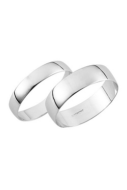 White Gold Plain Wedding Band - His and Hers Set