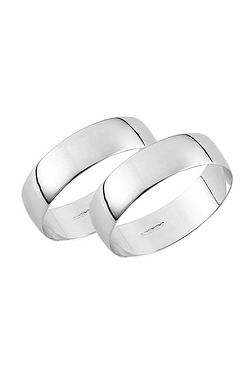 White Gold Plain Wedding Band - His and His Set