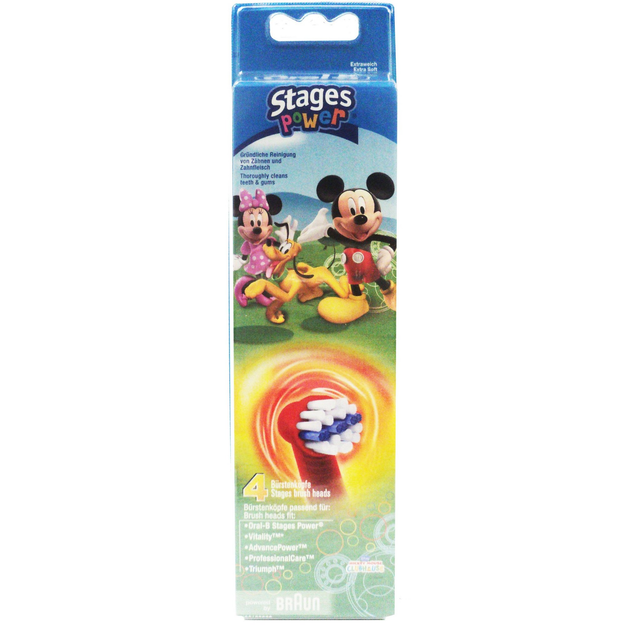 Image of Oral B Pack of 4 Mickey Mouse Brush Heads