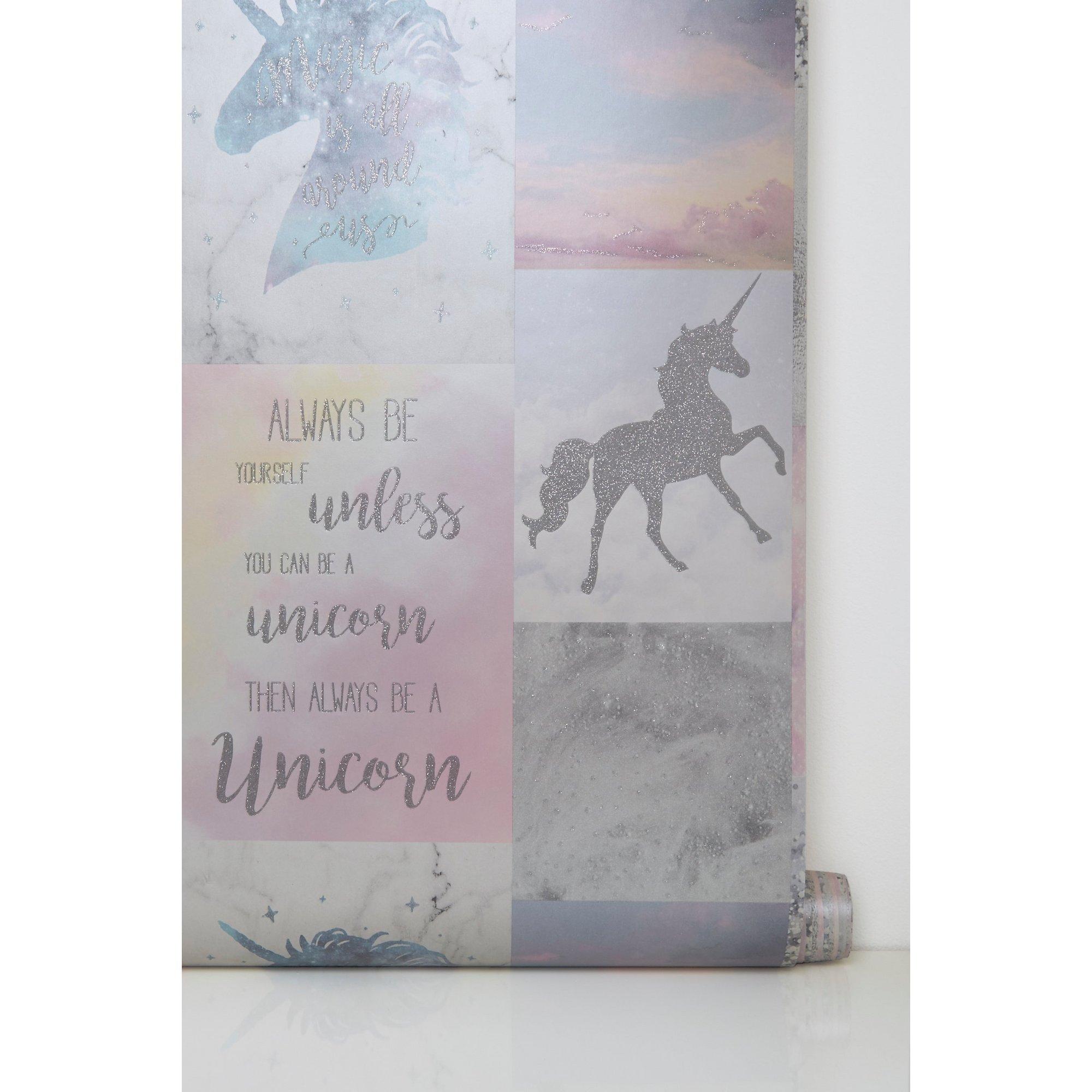 Image of Believe in Unicorns Glitter Wallpaper