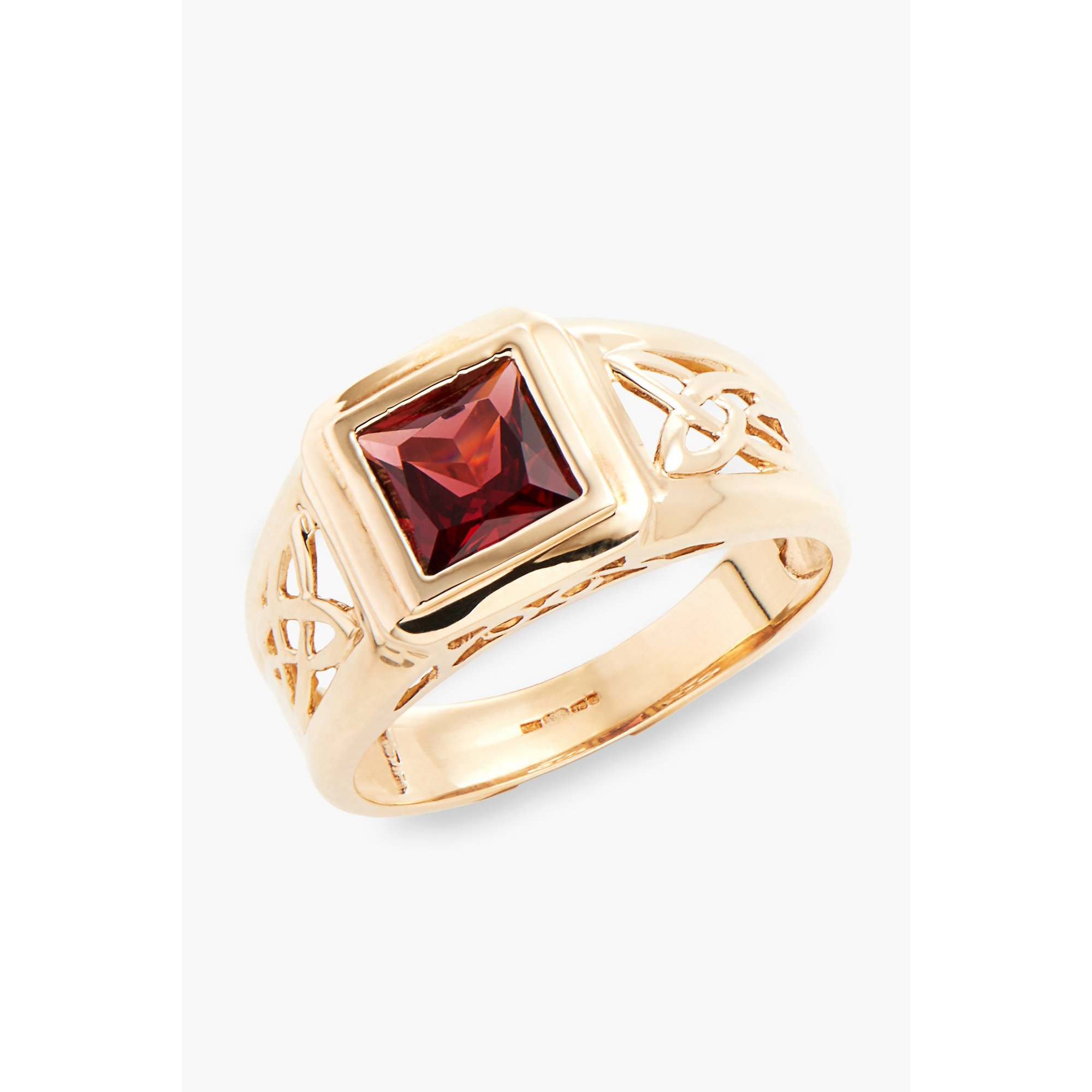 Image of 9ct Gold Celtic Style Garnet Ring