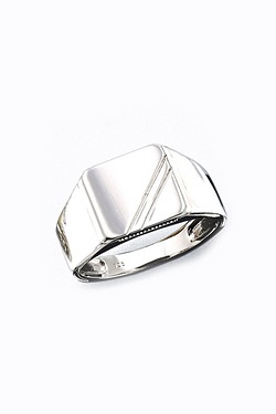 Silver Rhodium Plated Square Ring